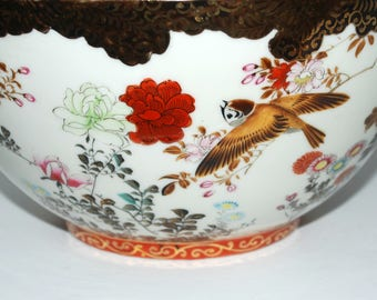 Antique Chinese porcelain  bowl with flowers and birds  hand painted home decor Asian bowl