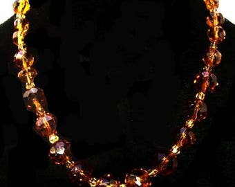 "Yellow Amber Bead Necklace Faceted Glass Stones Gold Clasp 19"" Vintage"
