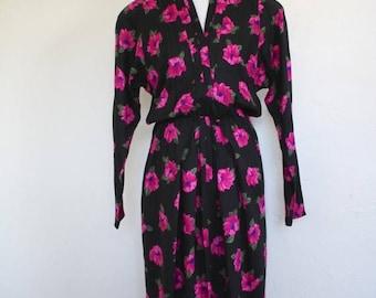 Clearance Sale Vintage Long Sleeve Floral Midi Dress