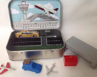 Altoids Miniature Airport toy,Stocking Stuffer,Wee Airport,Wee Village Series,Quiet Time Tin,Travel Toy,Altoids Playset,Miniature Airplanes