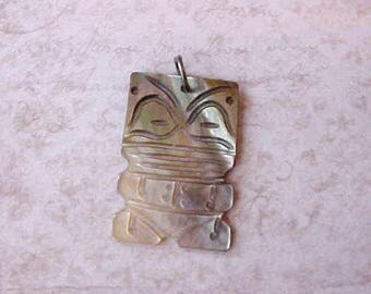 Pretty Vintage Carved Abalone Ethnic Pendant