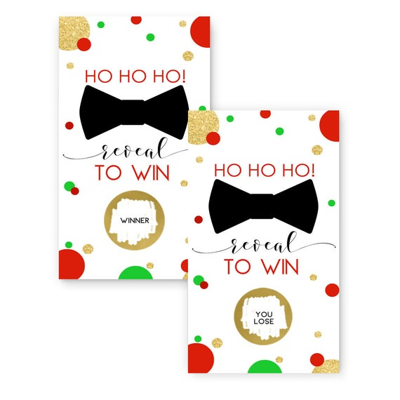 Christmas Party Paper Games: Christmas Party Scratch Off Cards -- Red And Green -- Bow