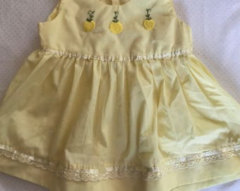 Vintage yellow embroidered lemon dress 3-6 months