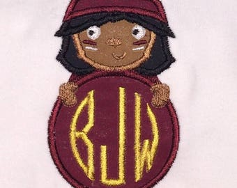 Children's Toddler Seminole Mascot Applique with Personalized Monogram on a Short or Long Sleeve T-Shirt