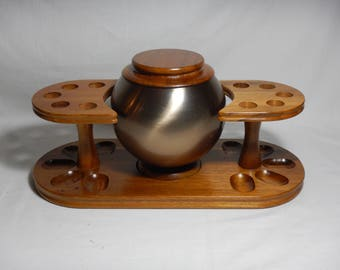 Walnut Wood 10 Holder Pipe Rest Stand w/ Brushed Aluminum Orb Tobacco Humidor Man Cave