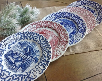 Mismatched Royal Crownford Staffordshire England Norma Sherman Lovely Christmas Plates Blue and White and Red and White Transferware Style