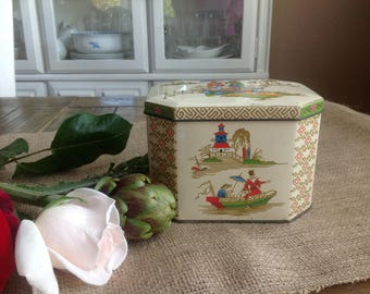 Perfect Vintage Tin with Asian Accents of boats scenes and Pagodas Dark Cream with Gold Highlights Attached Hindged Lid