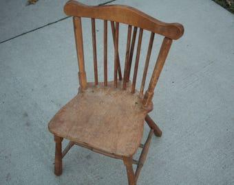 Wood Kidu0027s Chair, Furniture, Toy Room, Play Room, Vintage Farmhouse Chair,