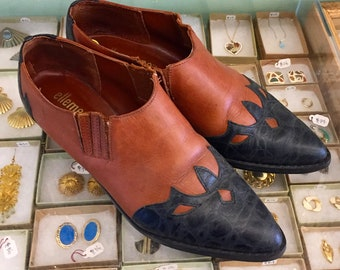 Vintage 80s ankle booties  Size 8 (may fit size 7 1/2) by ellemenno  Made in Brazil
