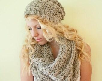 FLASH SALE Slouchy hat beanie crocheted - oatmeal - wool