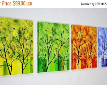 Four Seasons Tree Painting Large Abstract Contemporary Quadtych 4 Four Canvas Art Modern Over the Couch Bed 14 x 44 JMichael