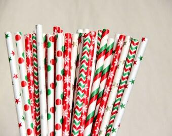 Christmas Mix Paper Straws/Christmas Party Straws/Wedding/Party Decor/Cake Pop Sticks/Mason Jar Straws/Party Supplies