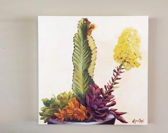 Succulent Painting, succulent oil painting, cactus oil painting, original oil, botanical painting, succulent oil painting,succulents,