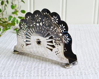 Small card and napkin stand, vintage serviette and letter holder, silver plate