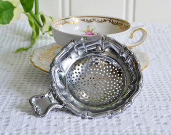Dainty tea strainer, vintage afternoon tea utensil, demitasse sifter, chrome plate