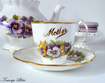 Jason Mother Teacup And Saucer With Purple Pansies, English Bone China Tea cup Set, Tea Party, ca. 1950