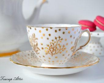 Royal Malvern Vintage Gold And White Teacup And Saucer Set, Wedding Gift, English Bone China Teacup, ca. 1960