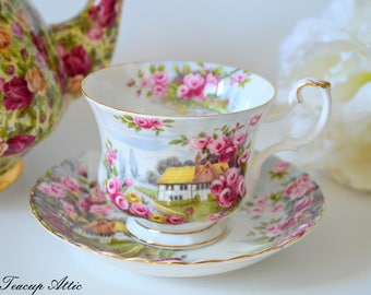 Royal Albert Country Scenes Rose Cottage Teacup and Saucer, English Bone China Tea Party, Garden Party, ca. 1990