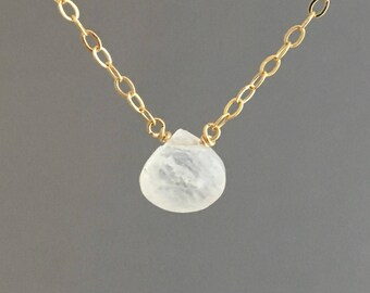 Moonstone Drop Necklace in Gold, Rose Gold, or Silver