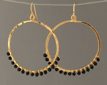 Black Beaded Wrapped Gold Hoop Earrings
