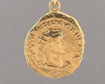 MEDIUM Two-Sided Ancient Coin HEAD Pendant Gold Necklace - AC3
