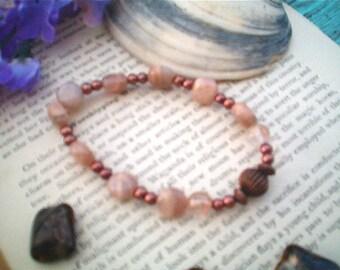 Moonstone Gemstone Bracelet, Mocha Brown Moonstone, Copper, Stretch, Handcrafted Gemstone Bracelet