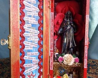 Collyridians Cake Eaters Marian Box Shrine. Virgin Mary. Black Madonna. Travel Shrine. Shadow Box. Mixed Media Altered Art.