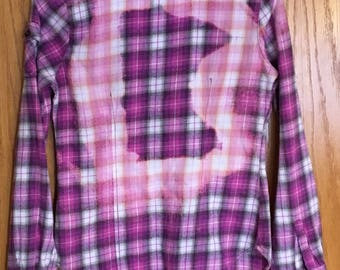 Girl's Bleached Flannel Shirt With Lace Cuffs, Minnesota Bleached Outline Girls Size Medium, Pink and Purple Flannel with Lace Cuffs