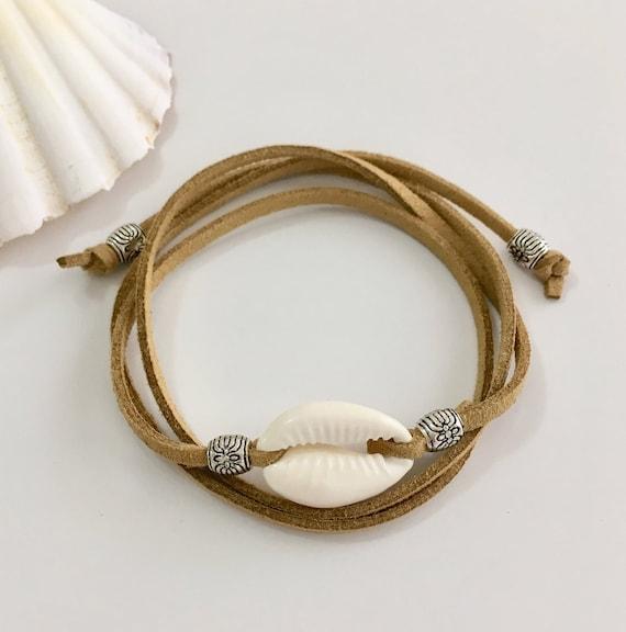beach jewelry, wrap bracelet, boho jewelry, cowrie shell bracelet