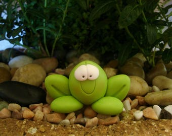 Whimsical Frog - Polymer Clay - Plant Stake - Summer - Miniature Garden - Figurine