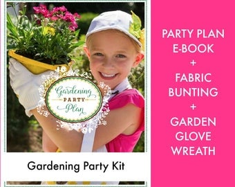 Gardening Party Kit: Gardening Party Plan + Garden Glove Wreath +  Gardening Party Bunting