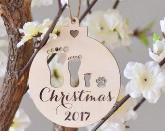 Family footprint wooden ornament- Family Christmas ornament- personalized gift - gift under 10