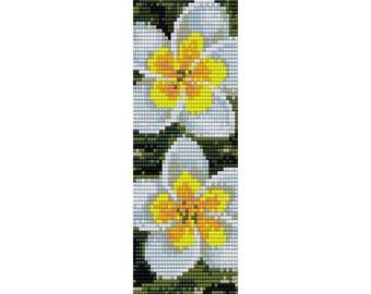 Frangipani Flower Loom Bead Pattern, Bracelet Pattern, Bookmark Pattern, Seed Beading Pattern Delica Size 11 Beads - PDF Instant Download