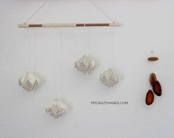 origami mobile || origami diamond wall hanging || origami nursery garland ||| origami gifts || gift for book lovers -book pages