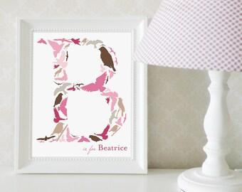 Bird Monogram Print, Birds Nursery Art, Bird Themed Nursery Wall Decor, Bird Themed Letter, Custom Monogram Print: Birds