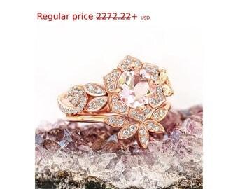Summer Sale! Natural Morganite & Diamonds Bridal Rings Set; Rose Gold Flower Ring + Leaves Ring Matching Side Band, Pink Morganite Ring Diam