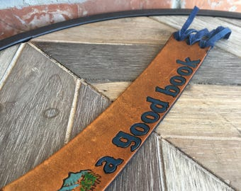 Leather bookmark, bookmarks, handmade, tooled leather bookmark, gifts, books