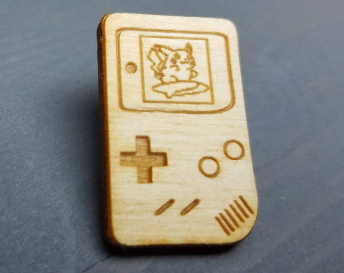 Surfing Pikachu Gameboy Pin | Laser Cut Jewelry | Wood Accessories | Wood Pin
