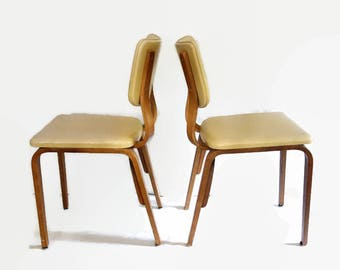 Mid Century Modern Thonet Chairs, Pair Vintage Thonet Bentwood Chairs, Retro Bent-ply, Cream Vinyl Seat Retro Furniture