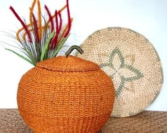 Orange Pumpkin Sisal Basket, Woven Raffia Basket, Autumn Fall Harvest Halloween Thanksgiving, Floral Display