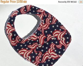 ON SALE Flag baby bib,July 4th Baby bib,Baby's first July 4th bib,American flag bib, July 4th baby,Red white and blue bib,Babys first 4th of