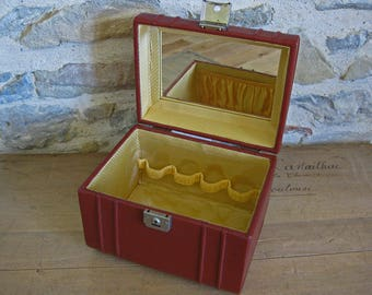 French train case vintage, wine red luggage with yellow lining and key
