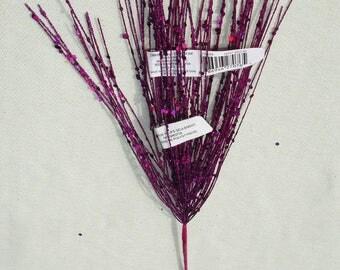Glittery Purple Floral Pick - Halloween Craft Supply