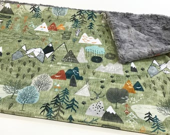 Mountains Baby Boy Blanket - Minky Baby Blanket, Olive Max's Map Baby Blanket, Personalized Baby Blanket, Adventure Awaits, Baby Shower Gift