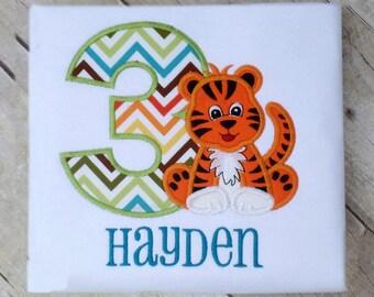Tiger birthday shirt, jungle themed birthday shirt with name and number, baby animal shirt, birthday boy shirt, zoo animal party