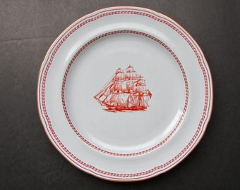 Trade Winds Salad Plate Ship George of Salem by Copeland Spode 1964 Iron Red with Gold Trim