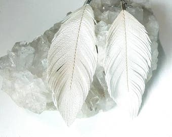 Wedding White - Pearlized Faux Leather Feather Earrings, Bohemian Bride, Boho Earrings, Feather Earrings,Bridal earrings, Boho Bride, Bridal
