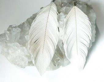 Wedding White - Pearlized Faux Leather Feather Earrings, Bohemian Bride, Boho Earrings, Feather Earrings, Bridal, Vegan, Boho Bride, Bridal