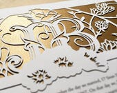 Succulents Garden papercut ketubah | wedding vows | anniversary gift
