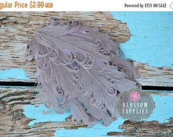 ON SALE 1 Curly Nagorie Feather Pad - Goose Feather Pad - Gray Feathers - Grey DIY Feather Headband Hair Clip - Goose Feathers - Wedding Fea